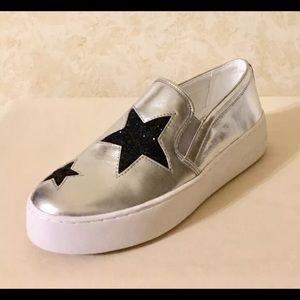 d547709339011 Michael Kors Shoes - Michael Kors Pia Silver Slip on Sneakers Star